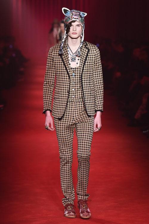 Traje con estampado de cuadros bicolor chaleco a juego para Gucci