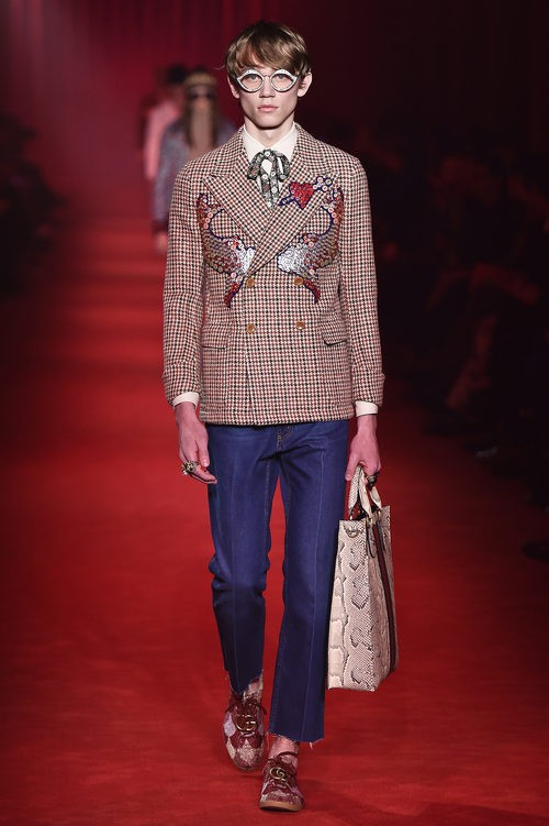 Americana de cuadros con doble botonadura y estampado de lentejuelas para Gucci