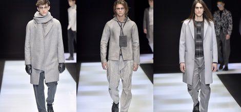 Maxi abrigo asimétrico en gris para Armani