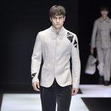 Chaqueta de algodón recta clara con detalle negro en hombro y manga para Armani