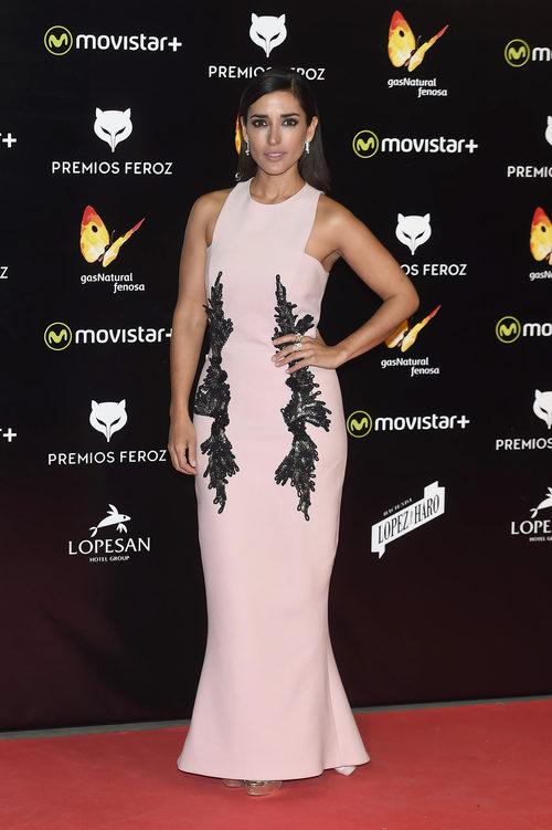 Inma Cuesta con un diseño largo rosa cuarzo en los Premios Feroz 2016