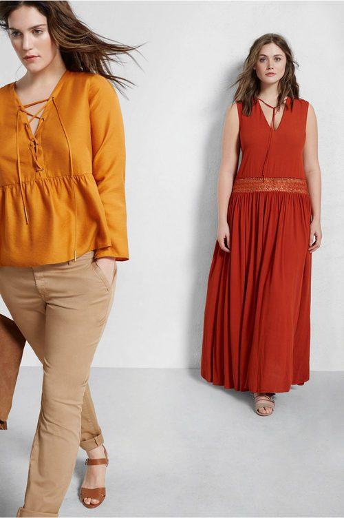 Vestido largo rojo y blusa color mostaza de Violeta by Mango