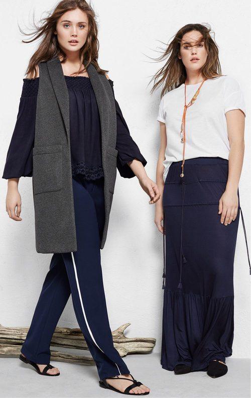 Conjuntos negros con chalecos largos y pantalones anchos de Violeta by Mango