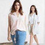 Mini falda vaquera y blusas ligeras blancas de Violeta by Mango