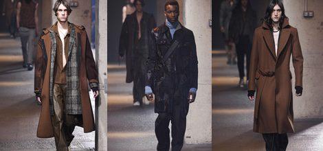 Maxi abrigo ante marrón y bufanda madras de Lanvin en la semana de la moda de París para la temporada Otoño/Invierno 2016/2017