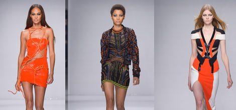 Vestido naranja corto asimétrico de Versace en la semana de la moda de París Primavera/Verano 2016