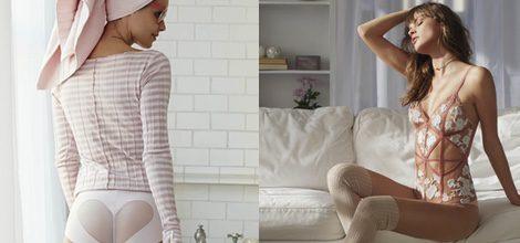 Body transparente en nude con detalles de Free People para San Valentín