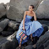Vestido amplio azul serenity de Salvatore Ferragamo para la colección 'The Splendor of Life' para primavera/verano 2016