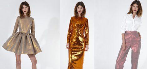 Vestido dorado efecto brilli brilli de 2nd LAB by 2nd Skin para primavera/verano 2016