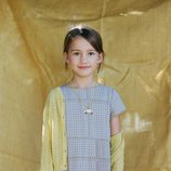 Vestido midi gris con estampado geométrico y rebeca amarilla de Nice Things Mini
