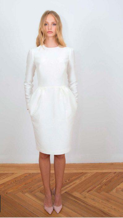 Vestido midi blanco de manga larga y falda globo de 2nd Skin Co.
