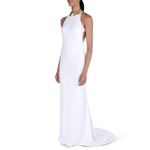 Vestido blanco liso con detalle dorado y espalda escotada de Stella McCartney