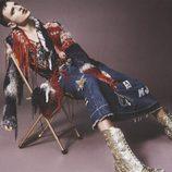 Falda larga denim con chaqueta de lana de Marc Jacobs
