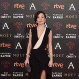 Ana Castillo con vestido negro en la alfombra roja de los Premios Goya 2016