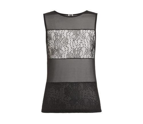 Camiseta de pijama con transparencias en negro de la nueva colección ONE LOVE para San Valentín 2016 de Yamamay