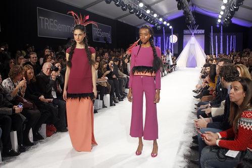 Conjuntos en rosa y naranja en el desfile de David Christian en la Madrid Fashion Show 2016