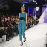 Conjunto en azul turquesa en el desfile de David Christian en la Madrid Fashion Show 2016