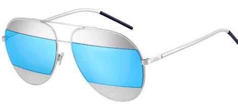 Gafas con montura plateada y cristal azul claro de Dior