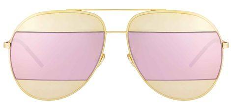 Gafas con montura dorada y cristal rosa de Dior