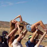 Conjunto top y short denim de H&M para el festival Coachella Valley