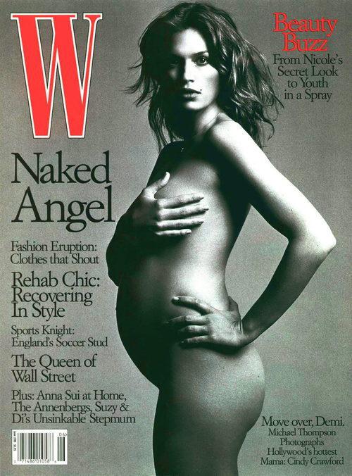Cindy Crawford posando desnuda y embarazada para la revista W en 1999