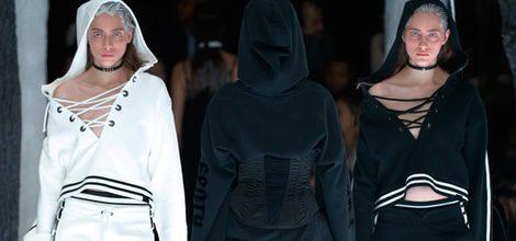 Conjuntos blanco y negro de Fenty by Rihanna en la FW de Nueva York para otoño/invierno 2016/2017