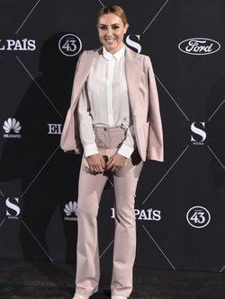 Berta Collado con un traje chaqueta rosa cuarzo en la fiesta S Moda