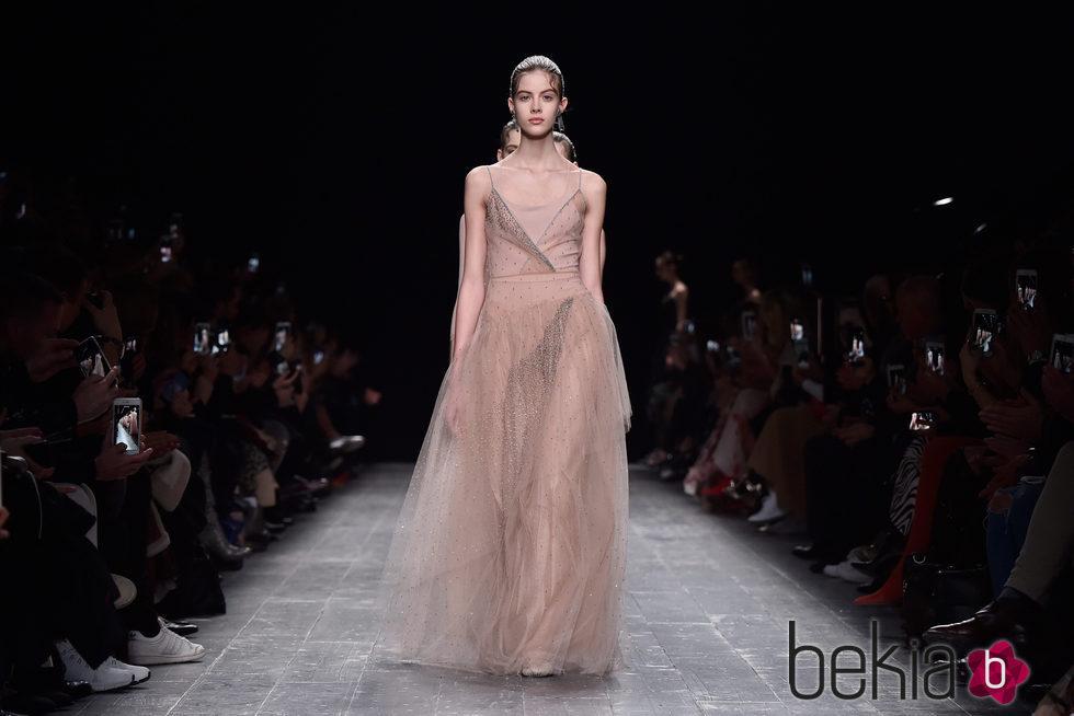 2017 Nude de Encaje de Color Rosa Vestidos de dama de