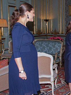 La Princesa Victoria de Suecia con un vestido azul de Seraphine