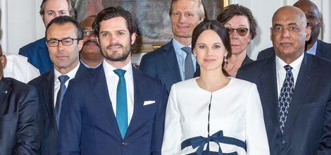 Los Príncipes Carlos Felipe y Sofia reciben a un grupo de embajadores de la ONU