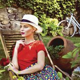 Conjunto camisa rouge y falda estampado cítricos colección Primavera/ Verano 2016 de Dolores Promesas