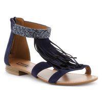 Sandalia en cuero con flequillos y pedrería azul oscuro de la colección primavera/verano 2016  de Merkal