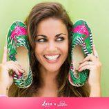 Lara Álvarez con alpargatas de flamencos de la colección primavera/verano 2016 de Miss Hamptons