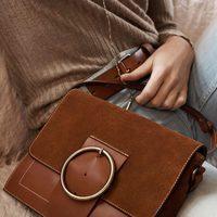 Bolso marrón de cuero y gamuza para la colección de primavera 2016 de Massimo Dutti