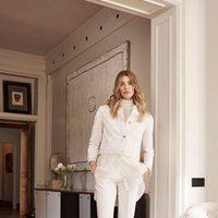 Veronika Heilbrunner con conjunto blanco para la colección de primavera 2016 de Massimo Dutti