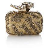 Clutch dorado con piedras y cristales de la colección Memento de Jimmy Choo