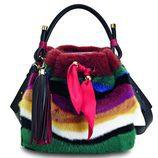 Cartera de peluche en colores de la colección de Sara Batagglia para Salvatore Ferragamo