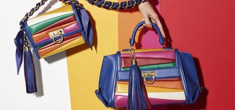 Pieza promocional bolsos de colores de la colección de Sara Batagglia para Salvatore Ferragamo