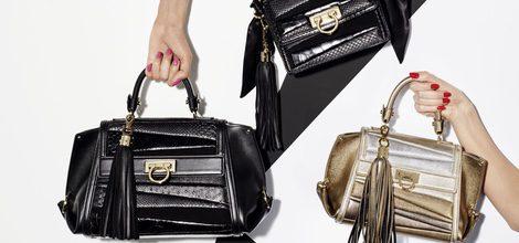 Pieza promocional bolsos negros y metalizados de la colección de Sara Batagglia para Salvatore Ferragamo