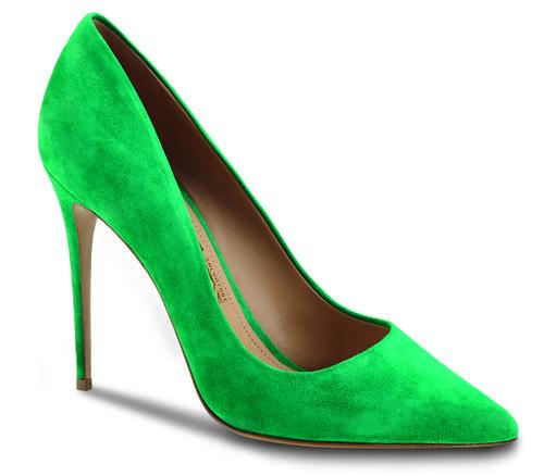 Stilettos verdes en gamuza de la colección otoño 2016 de Salvatore Ferragamo