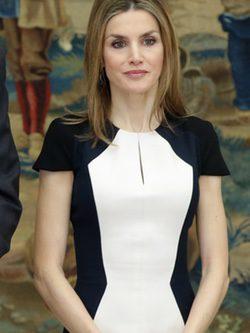 La Reina Letizia con un vestido de Carolina Herrera