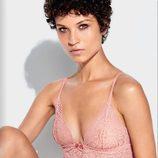 Conjunto bra y panties color rosa cuarzo de la colección otoño/inverno 2016/2017 de Etam