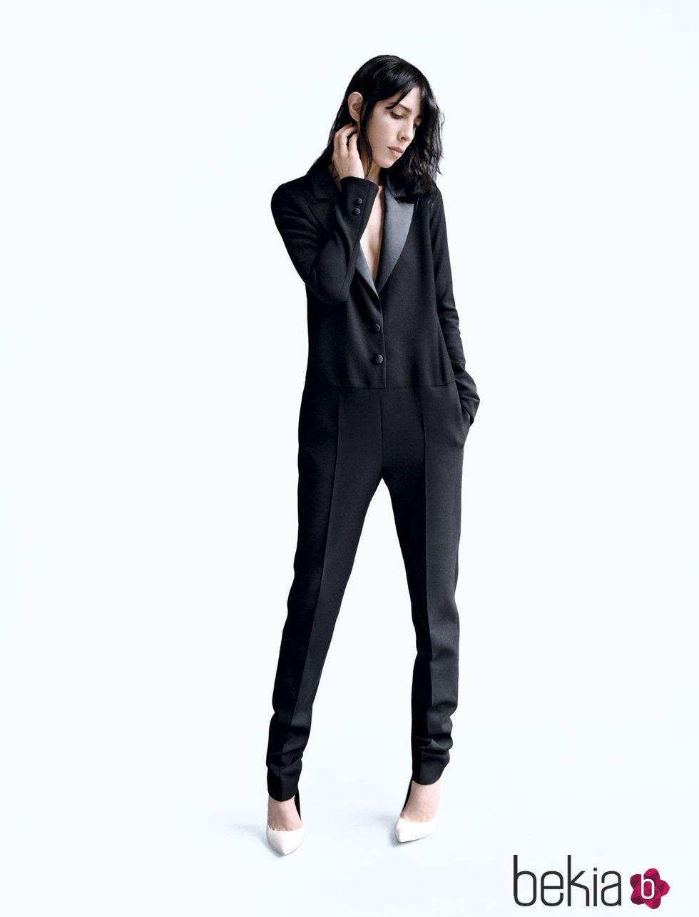 Jumpsuit en estilo esmoquin en negro de la nueva colección de Wanda Nylon para La Redoute 2016