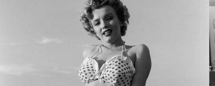 Marilyn Monroe con un bikini con estampado de lunares