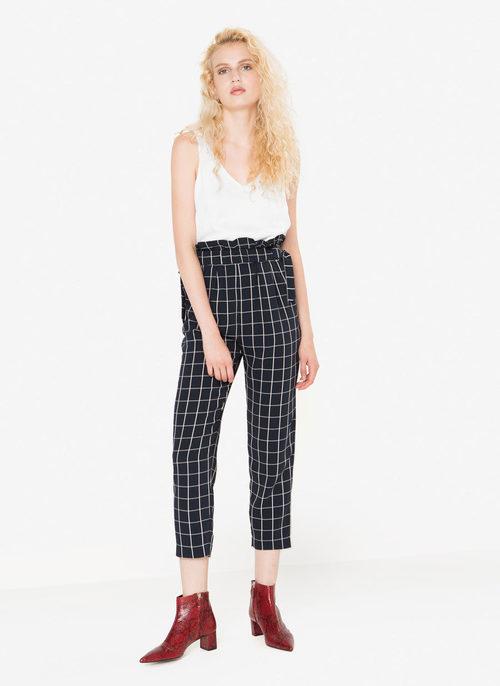 Pantalón high waist print y top blanco de la nueva colección otoño/invierno 2016 de Uterqüe