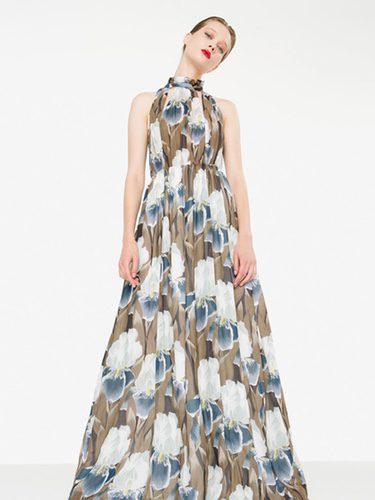 Vestido extra largo y high neck print floral de la nueva colección otoño/invierno 2016 de Uterqüe