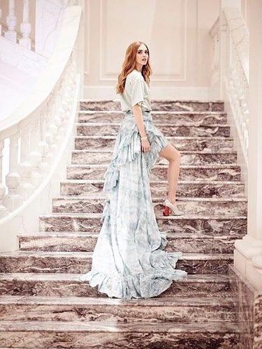 Chiara Ferragni con una falda de Roberto Cavalli