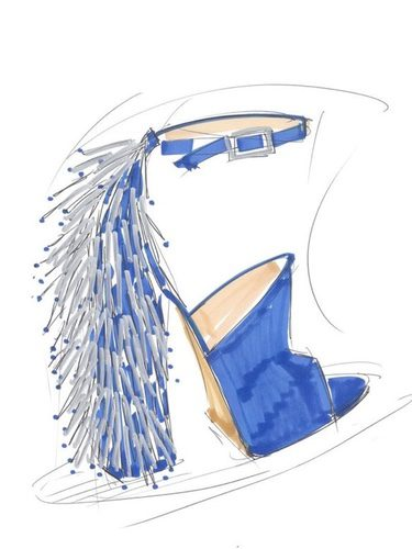 Boceto de tacones azules diseñados por Katy Perry para Global Brand Group