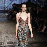Vestido largo marrón estampado de Missoni colección primavera/verano 2017 en Milán Fashion Week