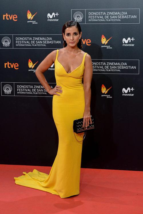 Inma Cuesta con un vestido amarillo en la ceremonia de clausura del Festival de San Sebastián